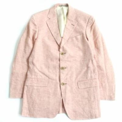 未使用品□エルメネジルドゼニア リネン100% シングル トラベルジャケット/テーラードジャケット ピンク 46C スイス製 正規品