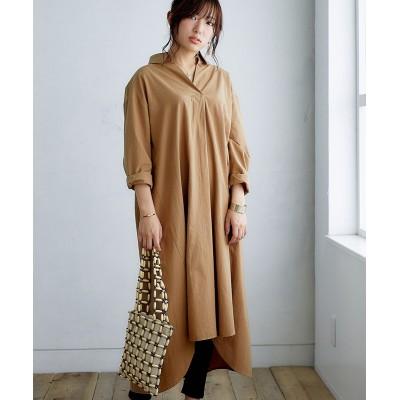 バックツイストロング丈シャツワンピース【ゆったりワンサイズ】 (ワンピース)Dress