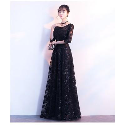 パーティードレス 結婚式 ロングドレス ドレス 袖あり ウェディングドレス 二次会ドレス レースアップ パーティドレス レース お呼ばれ 忘年会  bj-bf-0015