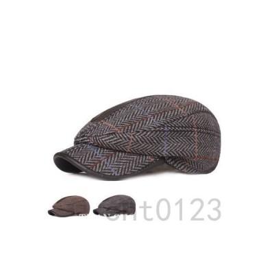 ハンチング帽子メンズ冬帽子耳付きキャップぼうしアウトドアレトロチェック柄色切替通気耐寒防風ファッション保温秋冬新作