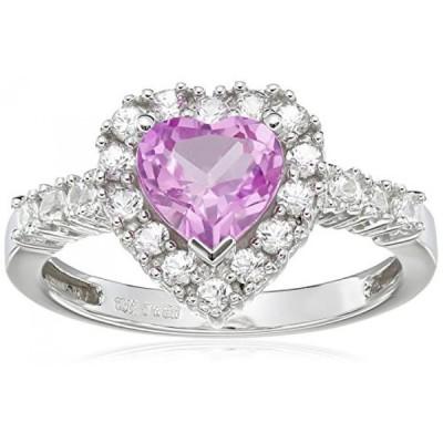アマゾン・コレクション 指輪 レディース用 10K White Gold Created Pink Sapphire Heart with Created White Sapphire Ring, Size 7