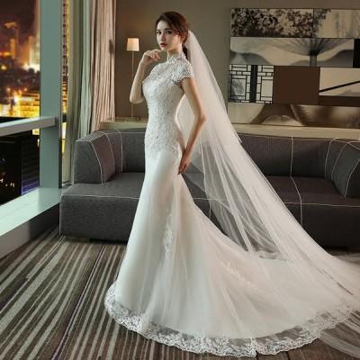 マーメイドライン ウェディングドレス 結婚式 ウエディングドレス ロングドレス 半袖 マーメイドドレス 花嫁  二次会 ブライダル 披露宴  wedding dress