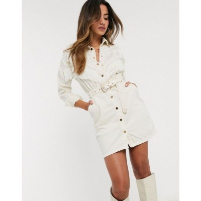 リバーアイランド River Island レディース ワンピース デニム ワンピース・ドレス denim dress in cream クリーム