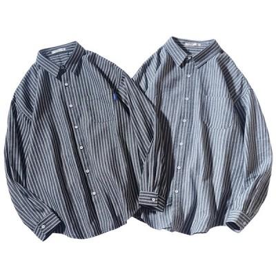 メンズシャツ 縞模様 2カラー展開 日常ウエア 長袖 メンズトップス 春夏ウエア 新入荷アイテム elelts04