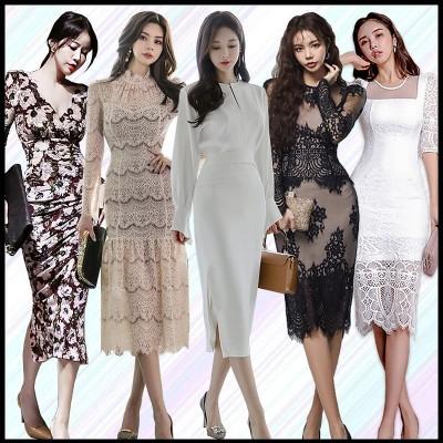 2020 3.16 新作追加 韓国ファッション高品質ワンピースOL正式な場合礼装ドレスセクシーなワンピース一字肩二点セット