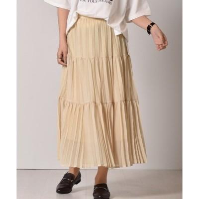 スカート ティアードプリーツスカート