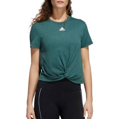 アディダス adidas レディース Tシャツ トップス Knotted T-Shirt Green Night/Tech Emerald