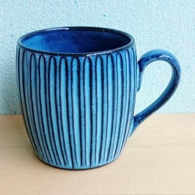 有田焼 波佐見焼 タイコ型マグカップ ブルー彫