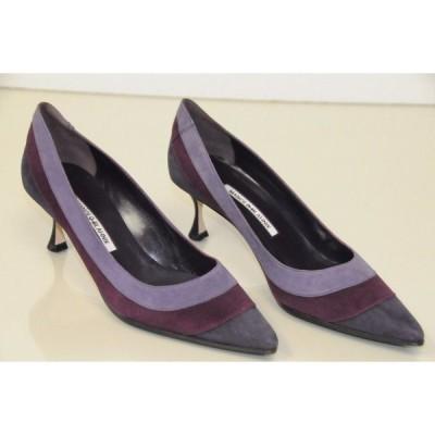 ハイヒール マノロブラニク Manolo Blahnik SFIDA BB 50 Newcio Lilac Purple Shoes Kitten Heels 40