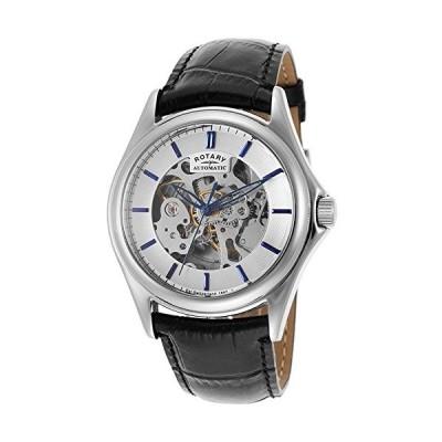 Rotary Men's Skeleton Dial Black Leather Strap Watch (28CEB59) 並行輸入品