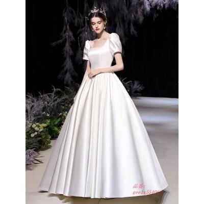2021春ウェディングドレス 白 フォーマルドレス ウエディングドレス エレ簡約 パーティードレス 二次会 挙式 結婚式 花嫁ロングドレス ワンピース