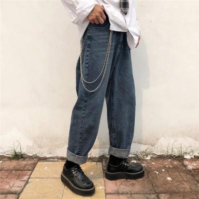 BF風◆ファッション レディース ヴィンテージ カジュアル デニム パンツ 個性的なデザイン  ゆったり デニム パンツ 男女兼用