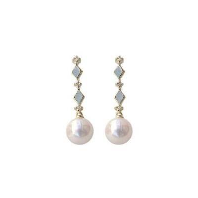 パール ピアス 18金 18k 普段使い あこや本真珠 ダイヤモンド 6mm k18 ゴールド ひし形 ぶら下がり ゆれる 揺れる 送料無料 プレゼント ギフト 人気