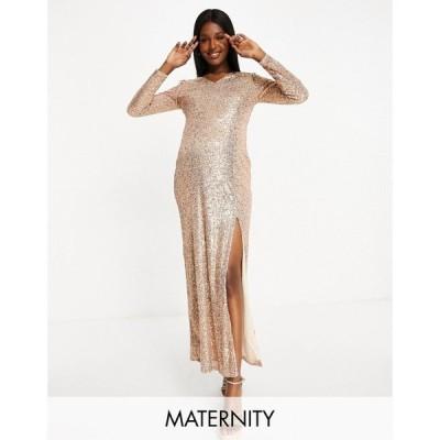 ジェイデッドローズ Jaded Rose Maternity レディース ワンピース マキシ丈 exclusive sequin plunge maxi with thigh split in gold ゴールド