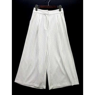 【中古】ファインダーズキーパーズ Finders Keepers アンクル ワイド パンツ ガウチョ ストライプ 白 ホワイト S