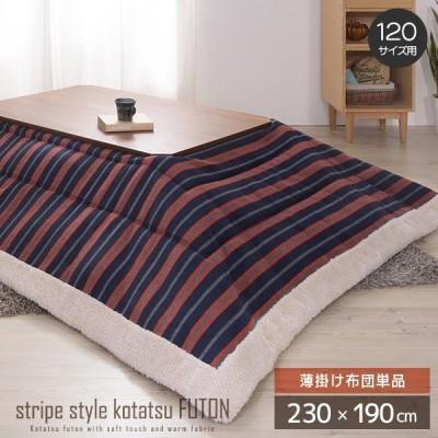 ストライプ柄 薄掛けこたつ布団 長方形 120サイズ用 掛け布団 単品 230cm