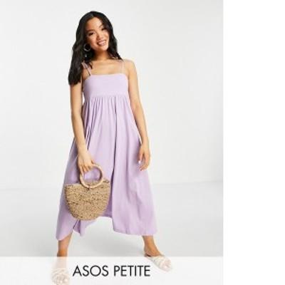 エイソス レディース ワンピース トップス ASOS DESIGN Petite cami midi dress with square neck in lilac Lilac