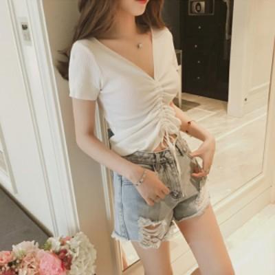 【 XL ~ 4XL 】 送料無料 大きいサイズ レディース 夏 セーター Tシャツ 半袖 Vネック 4xl 3xl 70510