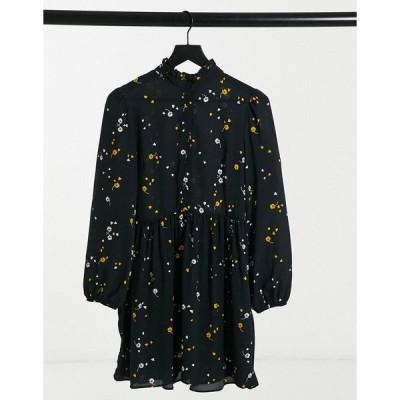 エイソス レディース ワンピース トップス ASOS DESIGN long sleeve button front mini smock dress in floral print Floral print