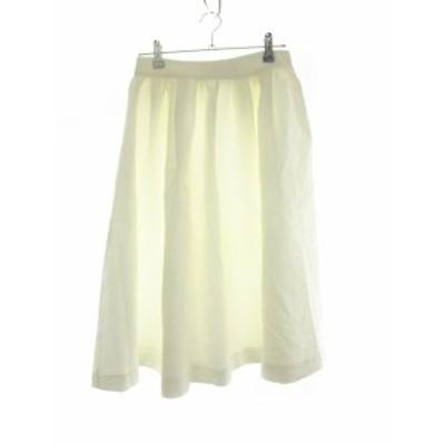 【中古】ローズバッド ROSE BUD スカート フレア ミモレ丈 総柄 1 白 ホワイト /M2 レディース