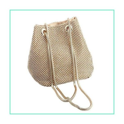 JAIN YA NA Full Rhinestones Bucket Bag for Women Fashion Shoulder Bag Purses Crossbody Bags with Long Chain Evening Bag for Wedding Party (Bucket Gold