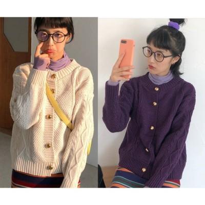 全2色 ニットカーディガン 縄編み 長袖 体型カバー 着痩せ シンプル sweet系
