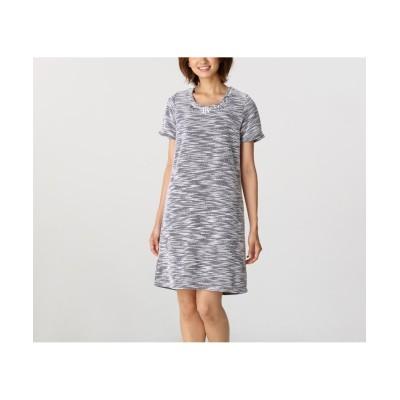 衿ビジュー付ツイードワンピース (ワンピース)Dress