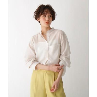 【AG バイ アクアガール】 バンドカラーシアーシャツ レディース オフホワイト 38(M) AG by aquagirl