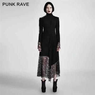 ドレス ゴシック パンク セクシー  Black PUNK RAVE Women Gothic Asymmetric Mesh Stitching Dress Black High neck Dress