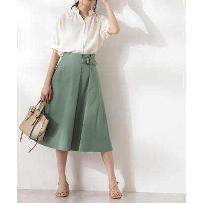 (N Natural Beauty Basic/エヌナチュラルビューティベーシック)バックル付セミフレアスカート/レディース グリーン