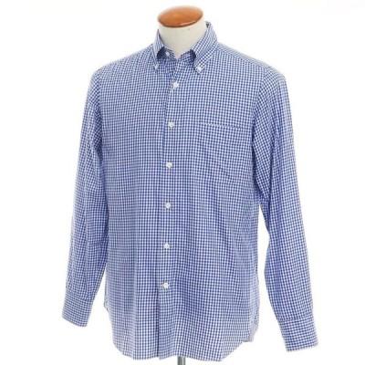 ビームスエフ BEAMS F コットン ギンガムチェック ボタンダウンシャツ ブルー×ホワイト 39