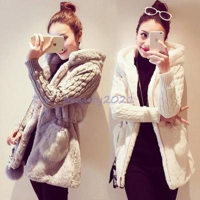 ファッション レディースファッション コート その他コート ニット シンプル 暖かい ファー 切り替えアウター お買い得商品 大人 きれいめ フェミニン