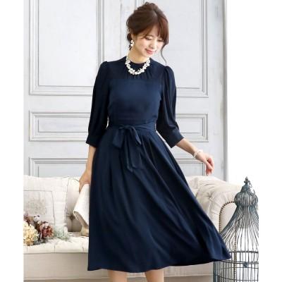 プールヴー PourVous クラシカルリボンロングスカートドレス・ ロングスカート/結婚式ワンピース お呼ばれ・二次会・セレモニー大きいサイズ対応フォーマルパーティードレス (ネイビー)