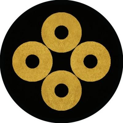 家紋シール 四つ蛇の目紋 直径4cm 丸型 4枚セット KS44M-1652