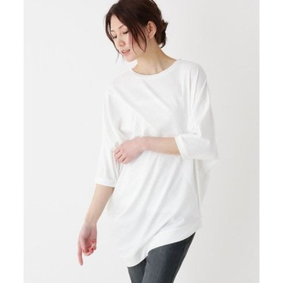 SHOO・LA・RUE / シューラルー 【フリーサイズ】リブ編み斜め切り替え変形カットソー