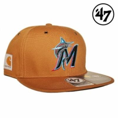 47ブランド カーハート コラボ スナップバックキャップ 帽子 メンズ レディース 47BRAND CARHARTT MLB マイアミ マーリンズ フリーサイズ