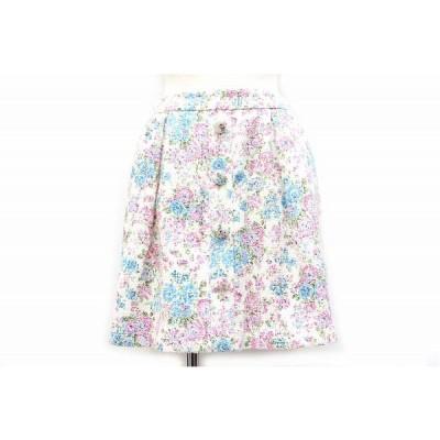 【中古】チェスティ Chesty スカート ショート ミニ 台形 花柄 1 ホワイト 白 /Z レディース 【ベクトル 古着】