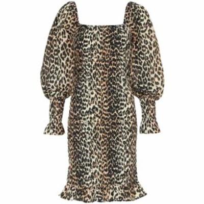 ガニー Ganni レディース ワンピース ワンピース・ドレス Cotton and silk minidress Leopard