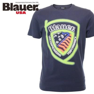 ブラウアー Blauer 半袖Tシャツ カットソー メンズ ロゴプリント クルーネック コットン 2321-5321