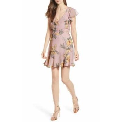 ファッション ドレス ROW A Womens Sheath Dress Pink Size XL Flutter Sleeve Mini Floral