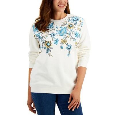 ケレンスコット パーカー・スウェットシャツ アウター レディース Tapestry Printed Sweatshirt, Created for Macy's Pale Grey Htr
