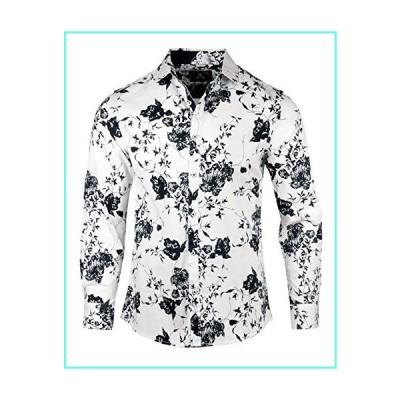 Rock Roll n Soul Men's Fashion 'Ain't Talkin Bout Love' Floral Design Long Sleeve Button-Up Shirt 817 (Small) White並行輸入品