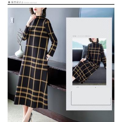 ★大人気商品 2019年秋冬の新型の下地の長袖のワンピースに下地のスカートの貴婦人のひざの長すぎるスカートを合わせます