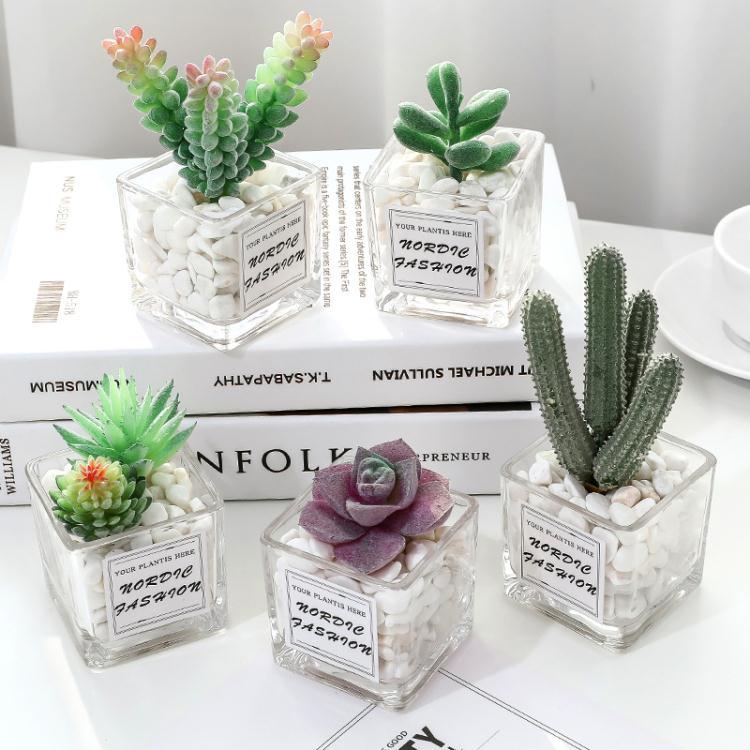 仿真綠植物小盆栽辦公室桌面擺設迷你仙人掌多肉裝飾假花客廳擺件 【四季小屋】