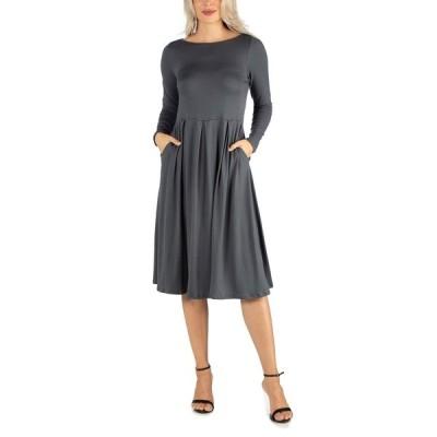 24セブンコンフォート ワンピース トップス レディース Women's Midi Length Fit and Flare Pocket Dress Gray