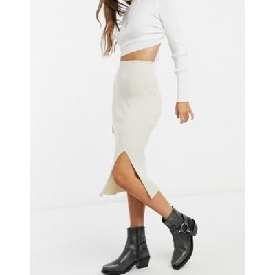 モンキ レディース スカート ボトムス Monki Loa knitted midi skirt with slit in beige