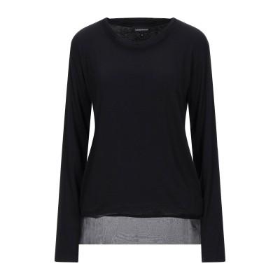 エンポリオ アルマーニ EMPORIO ARMANI T シャツ ブラック 42 レーヨン 95% / ポリウレタン 5% / シルク T シャツ