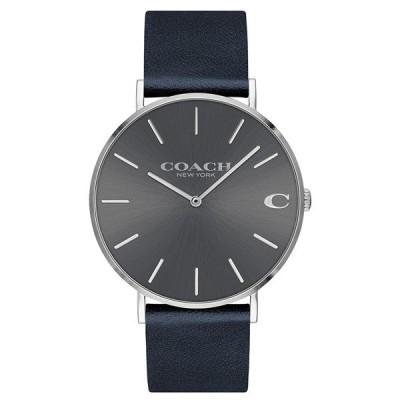 コーチ メンズ CHARLES チャールズ シルバーケース グレー文字盤 ダークネイビー レザー 14602150 あすつく 腕時計