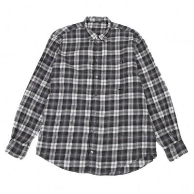 パパスPapas コットンオーバーチェックボタンダウンシャツ グレー白48M 【メンズ】