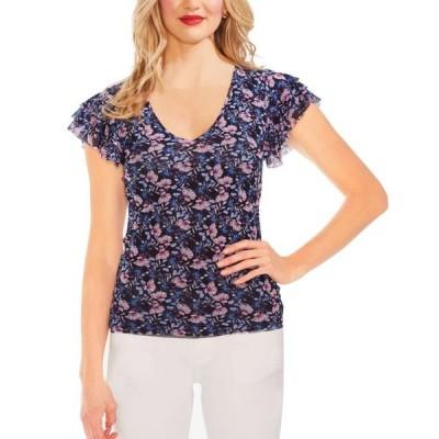 レディース 衣類 トップス Womens Blouse Navy Floral Flutter Tier Sleeve XS ブラウス&シャツ